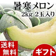 【送料無料】暑寒メロン(青肉メロン) 2kg前後×2玉入り 北海道旬のフルーツ【ギフト】