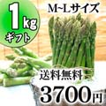 【送料無料】グリーンアスパラ M〜Lサイズ混合 1kg前後 北海道 美瑛産のあすぱら(ギフト用)