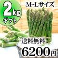 【送料無料】グリーンアスパラ M〜Lサイズ混合 2kg前後 北海道 美瑛産のあすぱら(ギフト用)