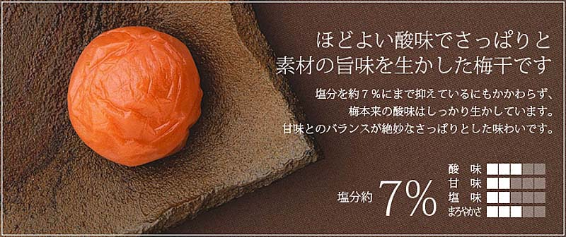 ほどよい酸味でさっぱりと素材の旨味を生かした梅干です